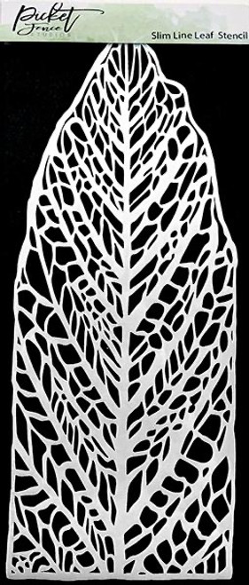 "Picket Fence Studios Slim Line Leaf 4"" x 8"" Stencil"