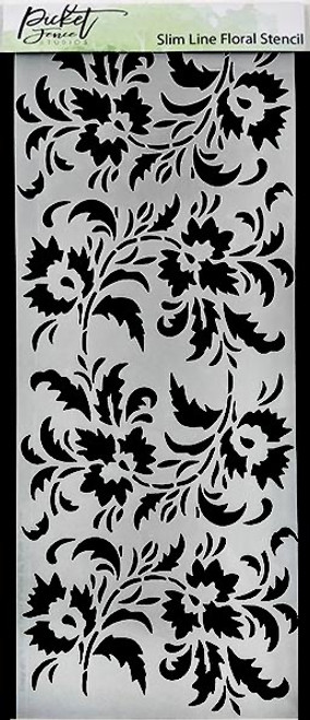 "Picket Fence Studios Slim Line Floral 4"" x 8"" Stencil"