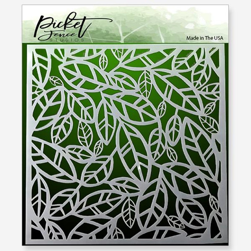 "Picket Fence Studios Funky Leaves 6"" x 6"" Stencil"