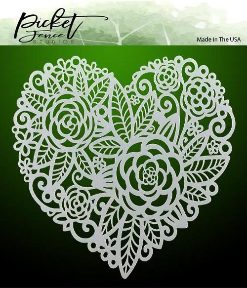 """Picket Fence Studios Flowers in a Heart 6"""" x 6"""" Stencil"""