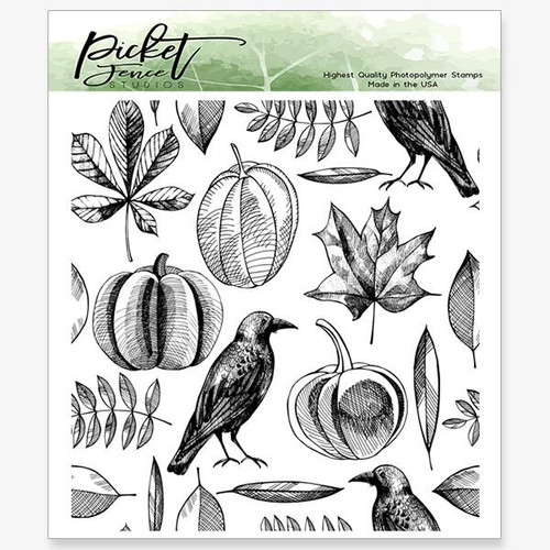 Picket Fence Studios Autumn Harvest Collage 4 x 4 Stamp