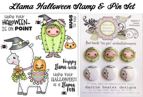 Darcie's Heart & Home Llama Halloween Stamp & Pin Set