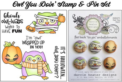 Darcie's Heart & Home Owl You Doin' Stamp & Pin Set