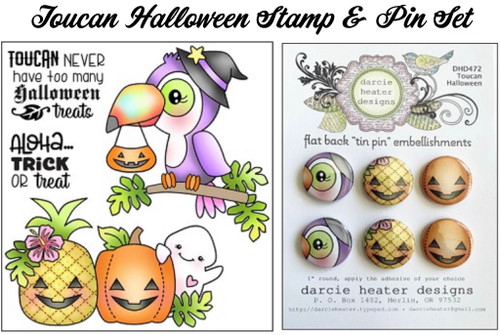 Darcie's Heart & Home Toucan Halloween Stamp & Pin Set