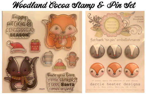 Darcie's Heart & Home Woodland Cocoa Stamp & Pin Set