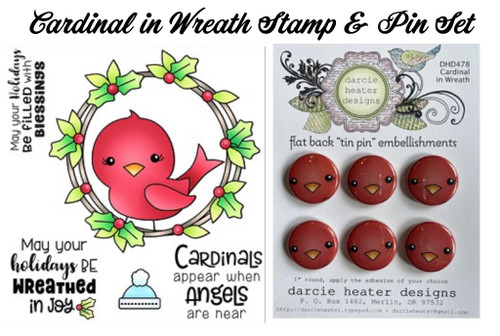 Darcie's Heart & Home Cardinal in Wreath Stamp & Pin Set