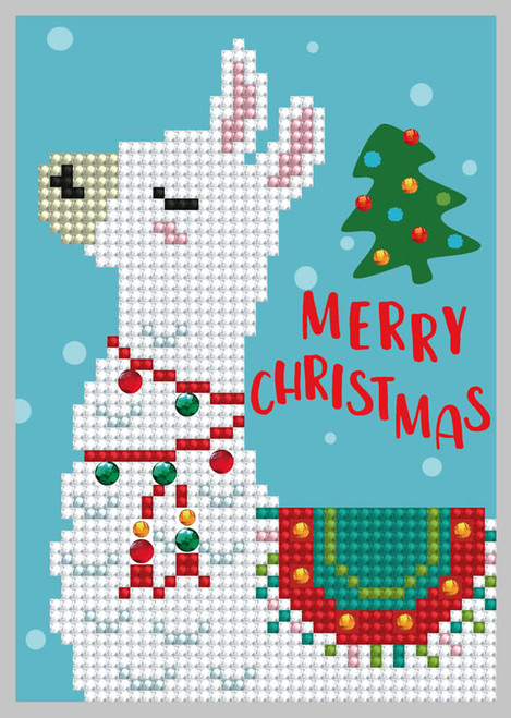 Diamond Dotz Merry Christmas Lama Greeting Card