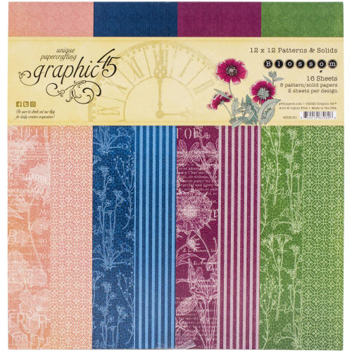 """Graphic 45 Blossom 12"""" x 12""""  Patterns and Solids Paper Pad"""