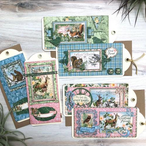 Graphic 45 Woodland Friends Slimline Card & Policy Envelope Set Monthly Card Kit Volume12