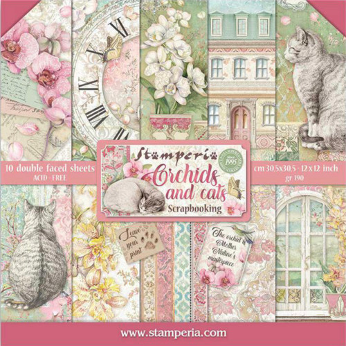 "Stamperia Orchids & Cats 12"" x 12"" Paper Pack"