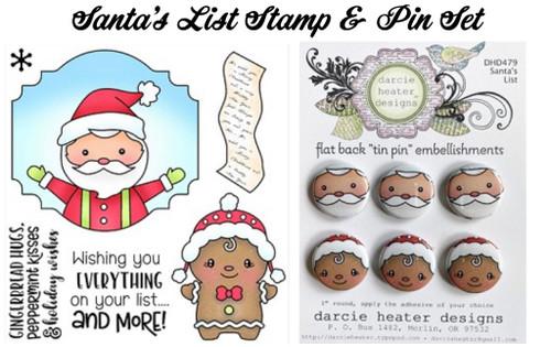 Darcie's Heart & Home Santa's List Stamp & Pin Set