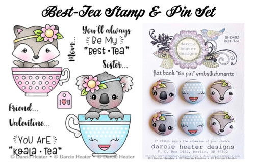 Darcie's Heart & Home Best-Tea Stamp & Pin Set