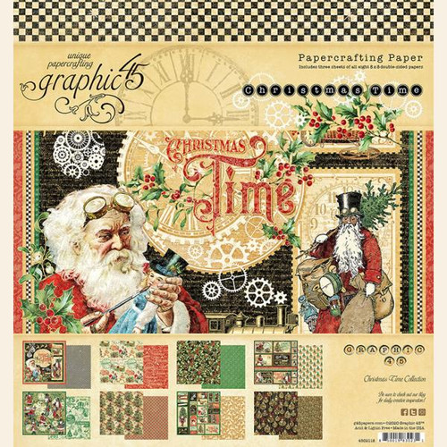 """Graphic 45 Christmas Time 8"""" x 8"""" Collection Pack"""