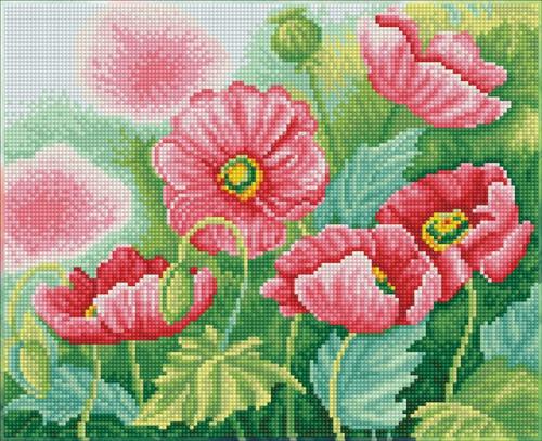 Diamond Dotz SQUARES Watercolour Poppies