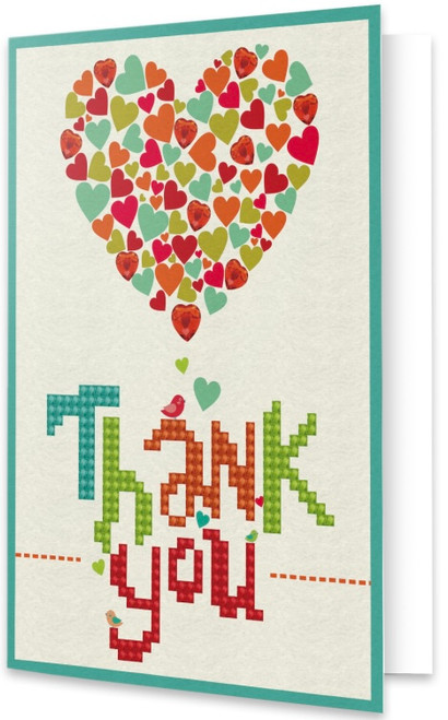 Diamond Dotz Thank You Heart Greeting Card