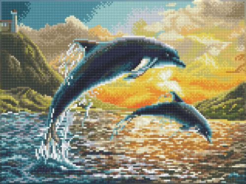 Diamond Dotz SQUARES Dolphin Sunset