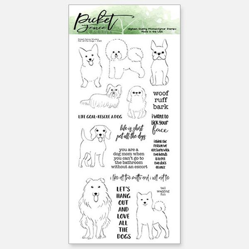 Picket Fence Studios  4 x 8 Pet All the Dogs Stamp Set
