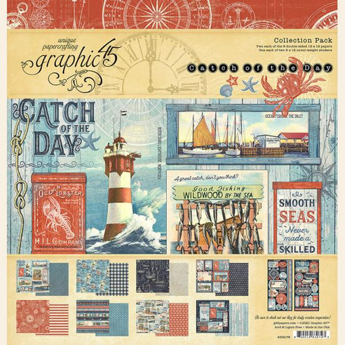 """Graphic 45 Catch of the Day 12"""" x 12"""" Collection Pack"""