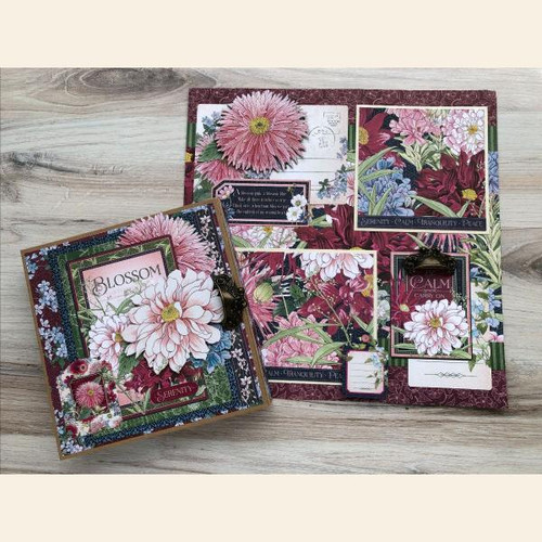 Graphic 45 Blossom Tri-Fold Waterfall Folio Album & Layout 2021 Monthly Project Volume 2