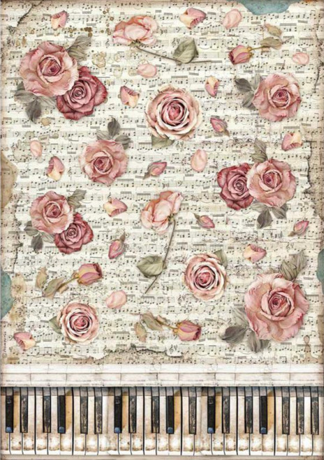 Stamperia A3 Rice Paper Passion Roses & Piano
