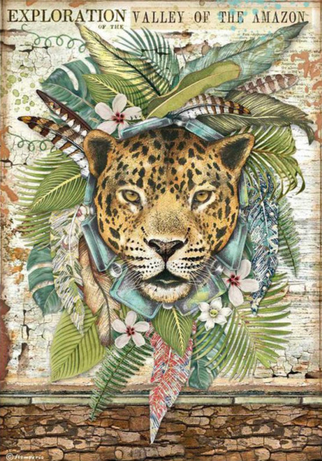 Stamperia A4 Rice Paper Amazonia Jaguar