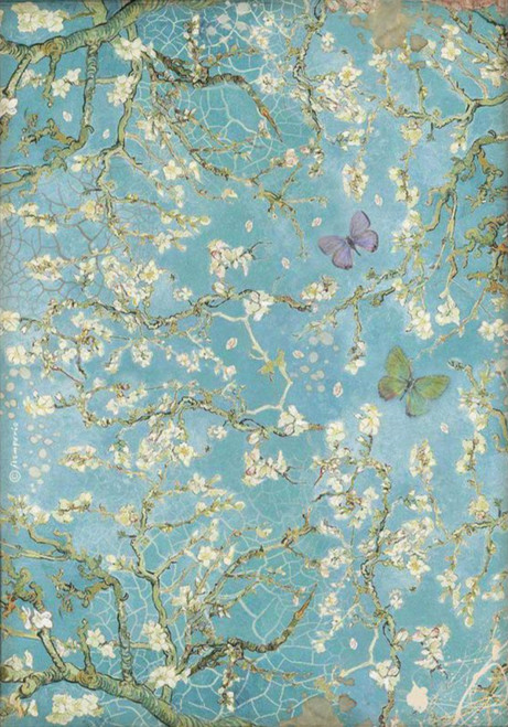 Stamperia A4 Rice Paper Atelier Blossom Blue Background w/ Butterfly
