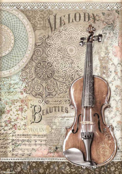 Stamperia A4 Rice Paper Passion Violin
