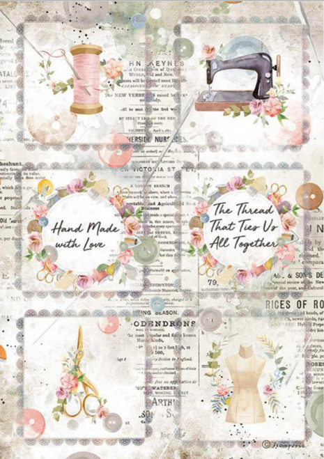 Stamperia A4 Rice Paper Romantic Threads Mini Cards