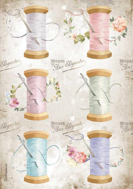 Stamperia A4 Rice Paper Romantic Threads Needle & Thread