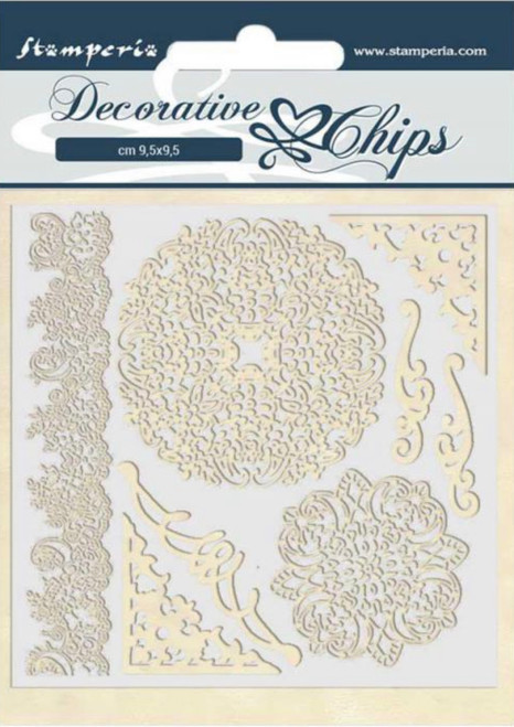 Stamperia Decorative Chips - Passion Laces and Corners