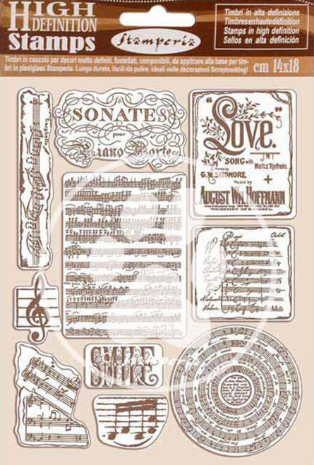 Stamperia HD Natural Rubber Stamp Set - Passion Music