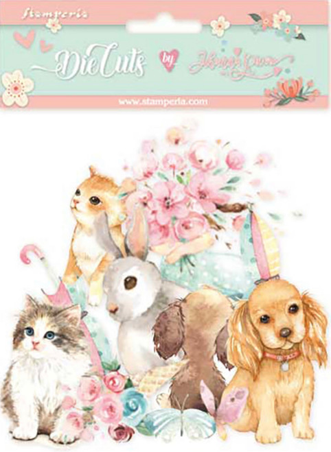 Stamperia Die Cuts Circle of Love Cats, Dogs & Embellishments