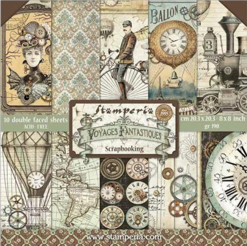 """Stamperia Voyages Fantastiques Paper Pack 8"""" x 8"""""""