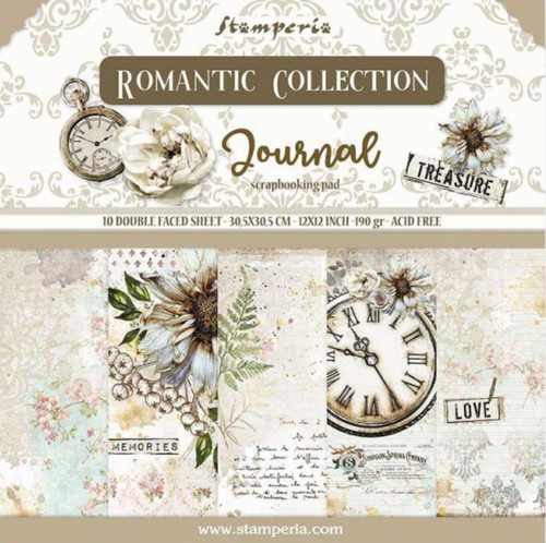 """Stamperia Romantic Journal 12"""" x 12"""" Paper Collection"""