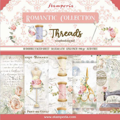 """Stamperia Romantic Threads 12"""" x 12"""" Paper Collection"""