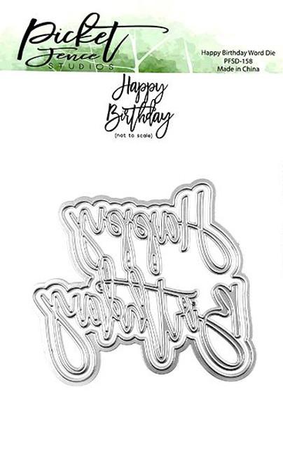 Picket Fence Studios Happy Birthday Word Die
