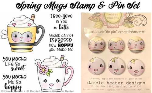 Darcie's Heart & Home Spring Mugs Stamp & Pin Set