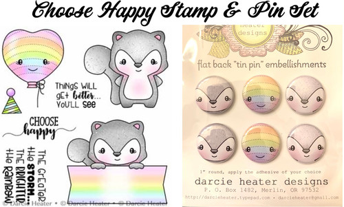 Darcie's Heart & Home Choose Happy Stamp & Pin Set