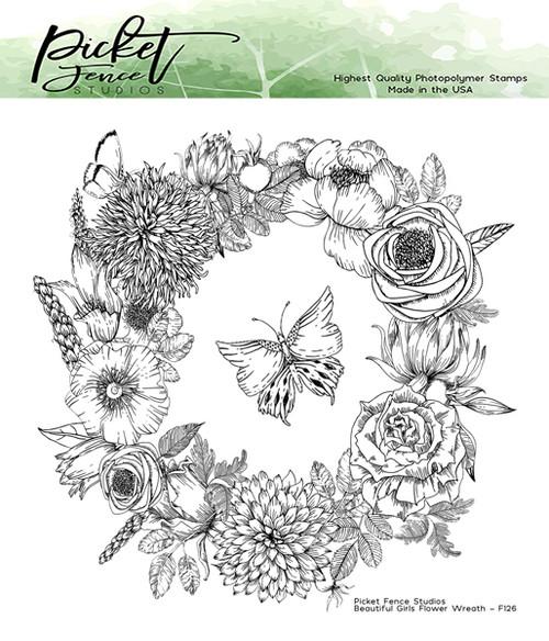 Picket Fence Studios 6 x 6 Beautiful Girls Flower Wreath Stamp Set