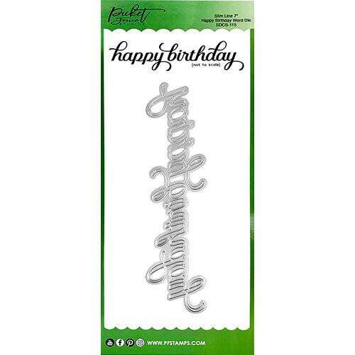 """Picket Fence Studios Slim Line 7"""" Happy Birthday Word Die"""
