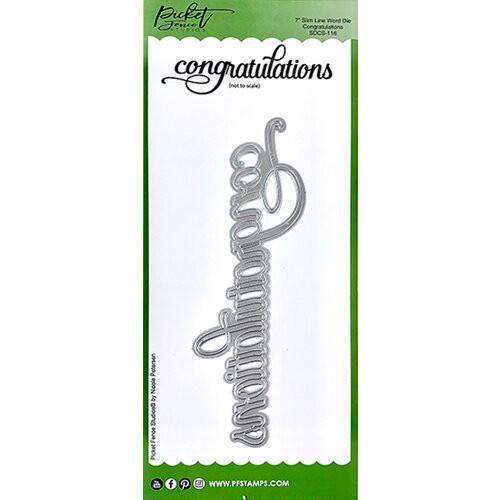 "Picket Fence Studios Slim Line 7"" Congratulations Word Die"