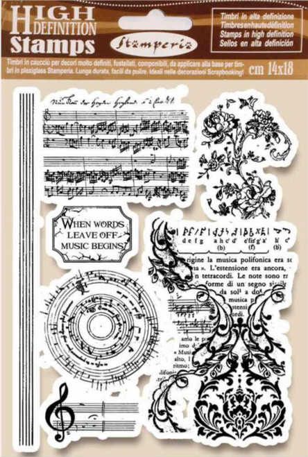 Stamperia HD Natural Rubber Stamp Music Beginning