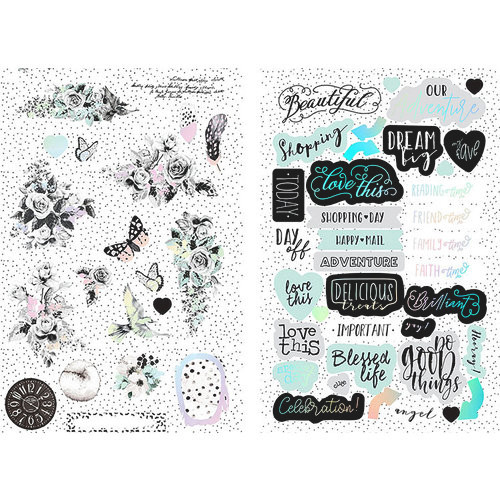 Prima Flirty Fleur Chipboard Stickers with Foil Accents