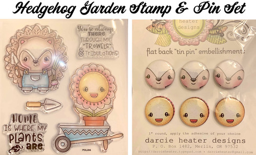 Darcie's Heart & Home Hedgehog Garden Stamp & Pin Set