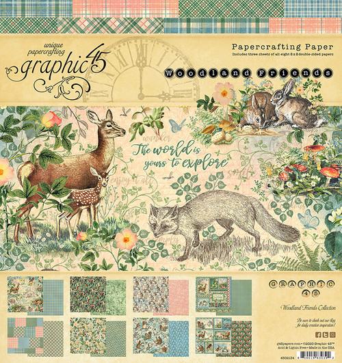 """Graphic 45 Woodland Friends 8"""" x 8"""" Paper Pad"""