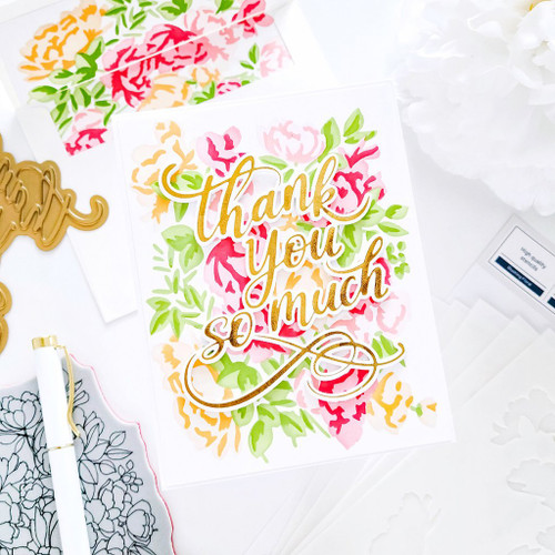 PinkFresh Studio Blushing Florals Layering Stencil Set
