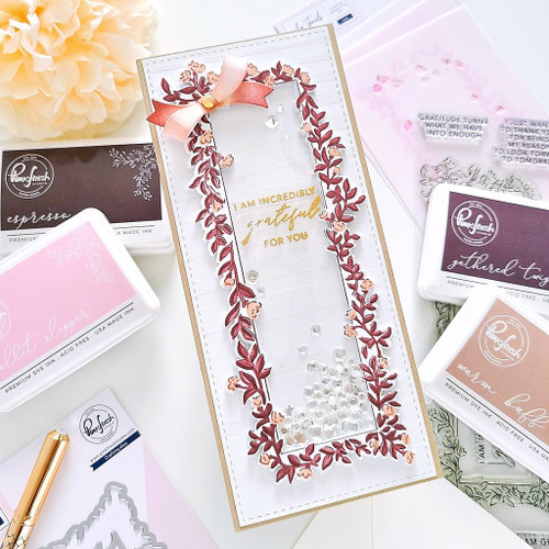 PinkFresh Studio Incredibly Grateful Slimline Layering Stencil Set