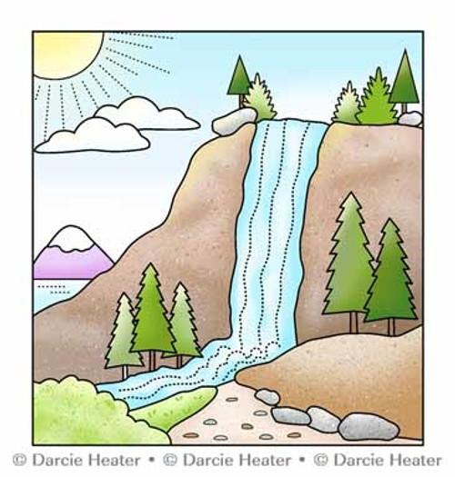 Darcie's Heart & Home Waterfall Scene Clear Stamp Set
