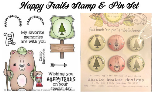Darcie's Heart & Home Happy Trails Stamp & Pin Set