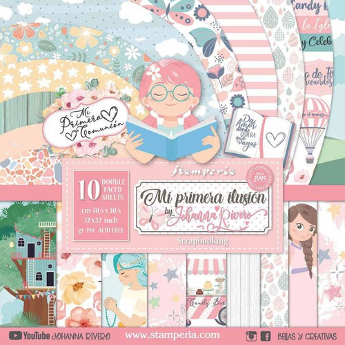 """Stamperia Mi Primera Ilusion Nina 12"""" x 12"""" Paper Collection"""